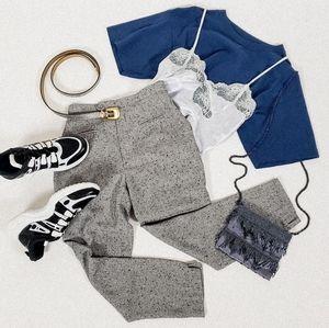 Pants - High rise tweed grey capris